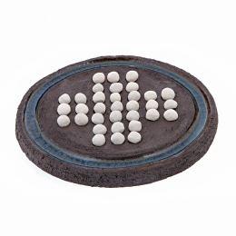 Σολιτέρ - Κεραμικό Επιτραπέζιο Παιχνίδι, Καφέ - Άσπρο