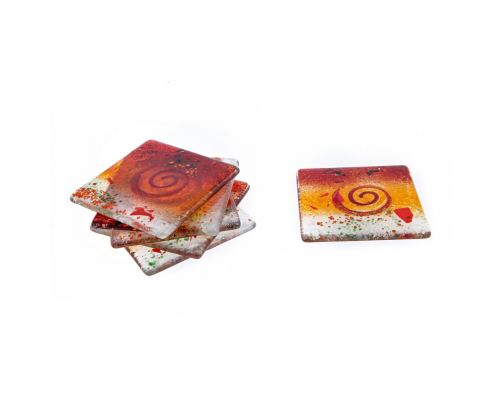 Drink Serving Coasters Set of 6 - Handmade Fused Glass - Spiral - Red, Orange, White
