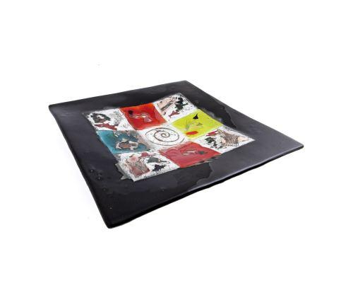 Decorative Square Platter, Handmade Fused Glass Centerpiece, Black Frame Patchwork Design 35cm (13.8'')
