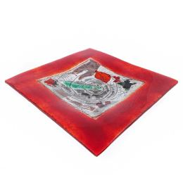 Decorative Square Platter, Handmade Fused Glass Centerpiece, Red Frame Design 35cm (13.8'')