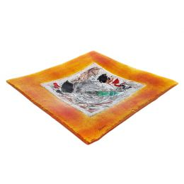 Decorative Square Platter, Handmade Fused Glass Centerpiece, Orange Frame Design 35cm (13.8'')