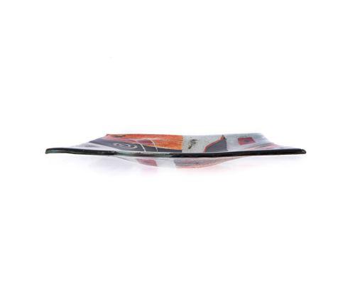 Decorative Square Platter, Handmade Fused Glass Centerpiece, Puzzle Design 35cm (13.8'')