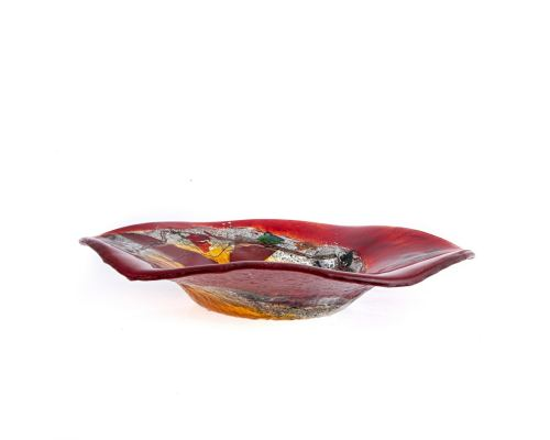 "Decorative Round Platter, Handmade Fused Glass Centerpiece, Red Bird Design 35cm (13.8"")"