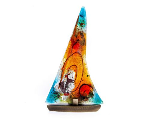 "Tealight Candle Holder, Handmade Fused Glass Decorative Ornament, Sailboat Orange Green Design 24cm (9.4"")"