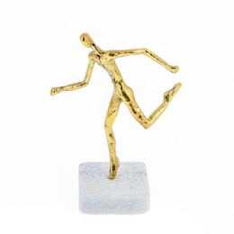 """Runner"" Metal Sculpture - Handmade Bronze on Marble Base - 6.1' (15.5cm)"