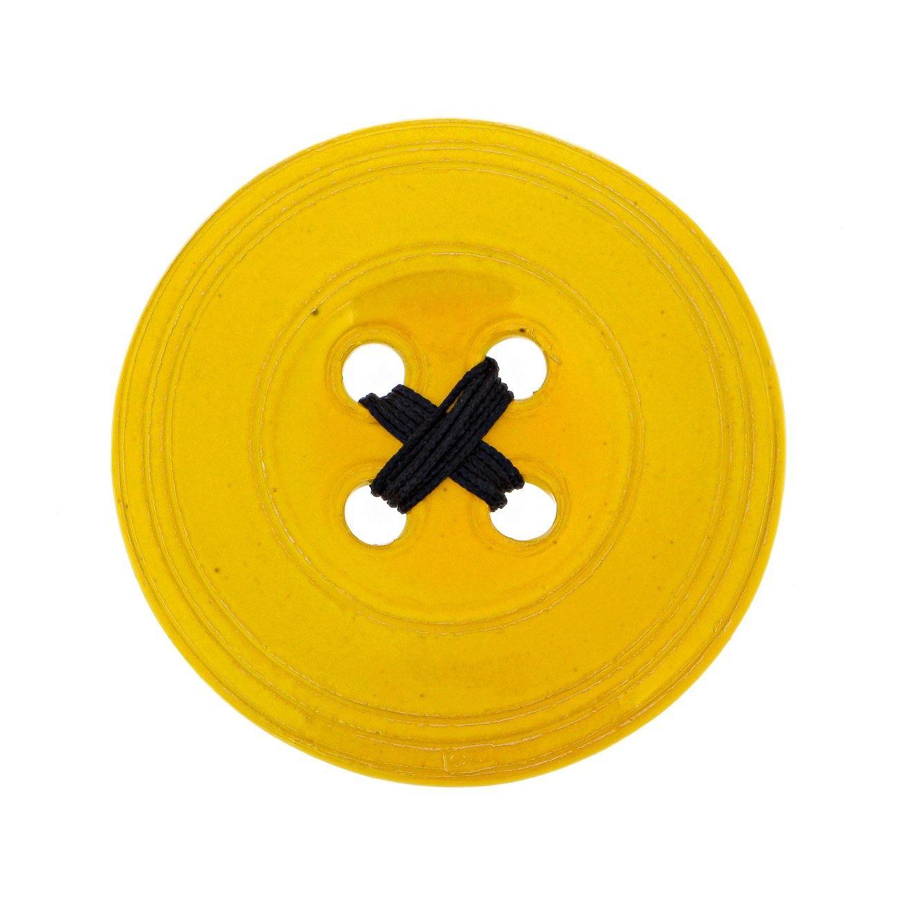 Ceramic Yellow Button - Modern Handmade Wall Art Decor - Large Size ...