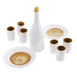 Καράφα με Ποτήρια & Πιάτα - Κεραμικό Σετ Ρακί, Άσπρο - Καφέ